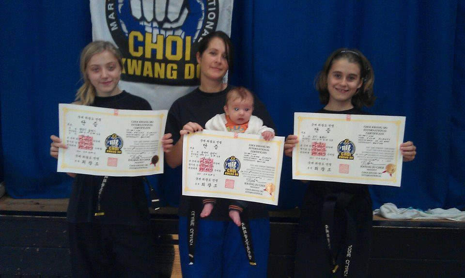 Photo of black belt certificates