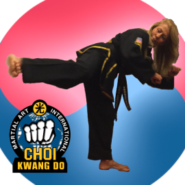Right foot side kick yellow belt
